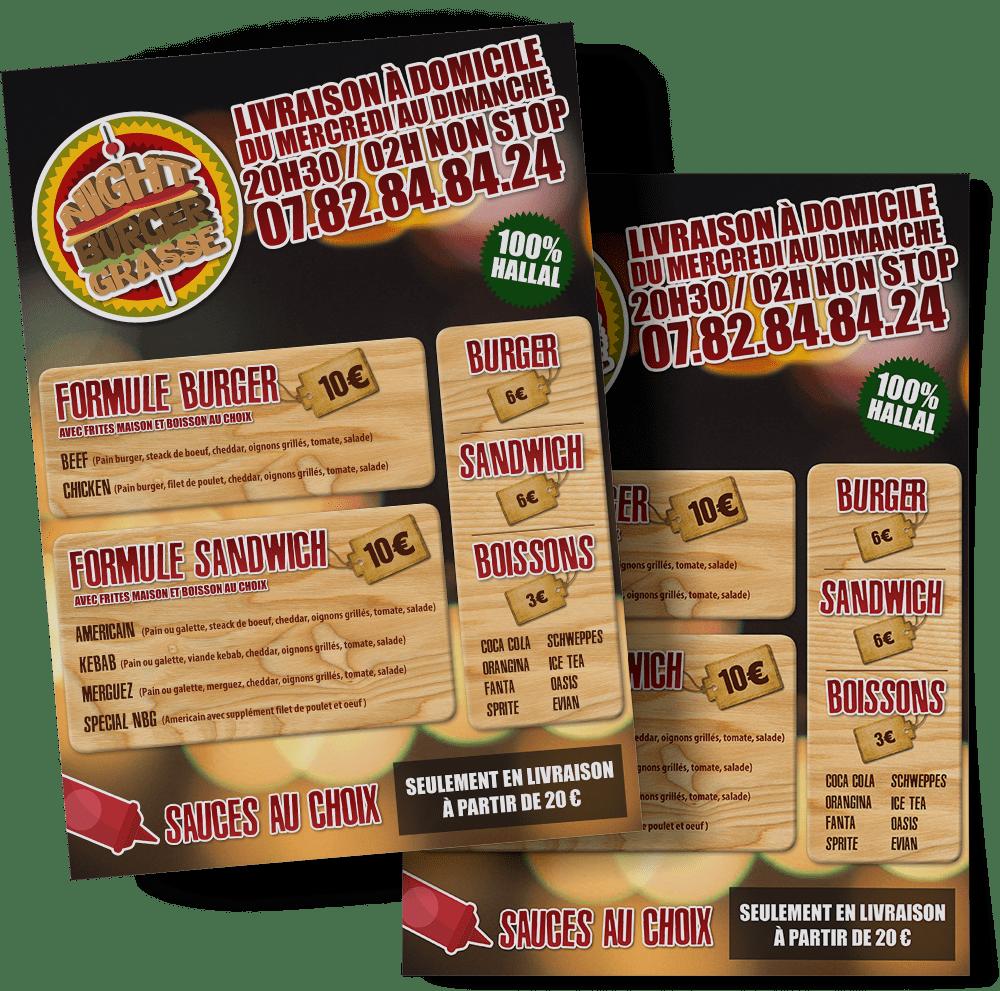 Réalisation flyers 4 volets pour pizzeria