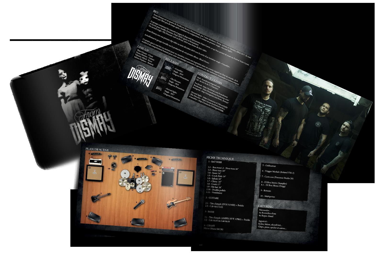 Création press book. Réalisation press kit pour groupe de musique metal